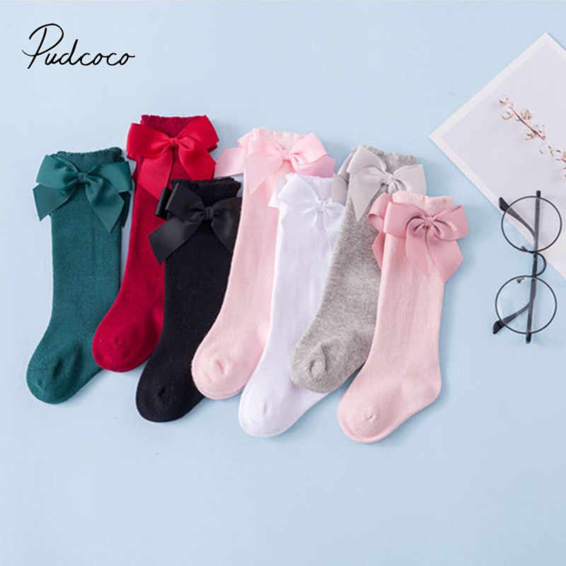 Bebek çocuk bebek kız ilmek çorap katı tayt isıtıcı 0-7Years diz yüksek prenses resmi maç çorap