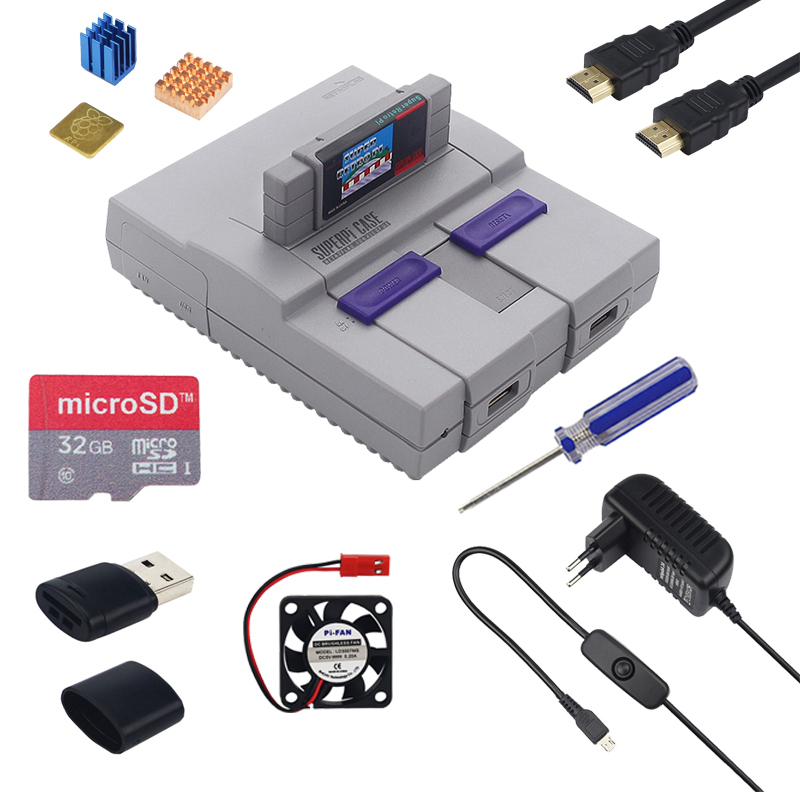 Retroflag SUPERPIE CASEU Raspberry Pi CASE +32GB SD Card +3A Switch Power Supply +HDMI+ Fan + Heatsink For Raspberry Pi Retropie