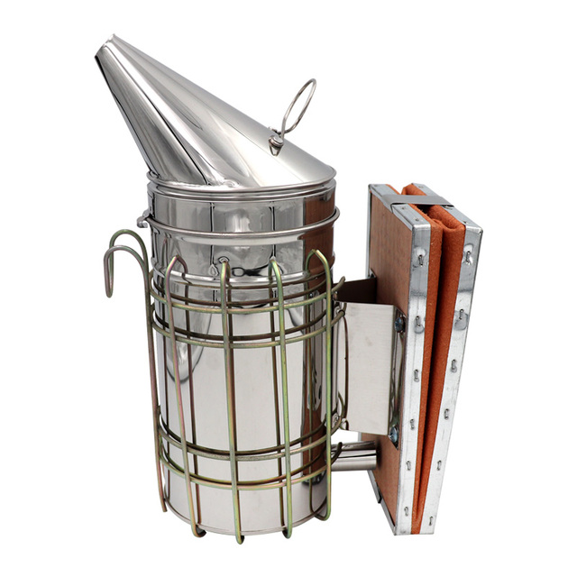1 Pc Beekeeping Tool Stainless Steel Bee Hive Smoker Galvanized Iron With Heat Shield Protection 3