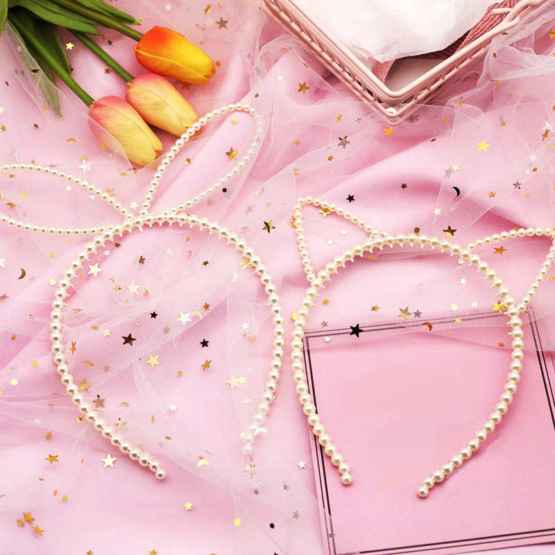 Korea Big Imitiation Pearls Elegant Headband Women Headwear Cute Cat Ear Hair Hoop Bezel For Girls Gift Hair Accessories Winter