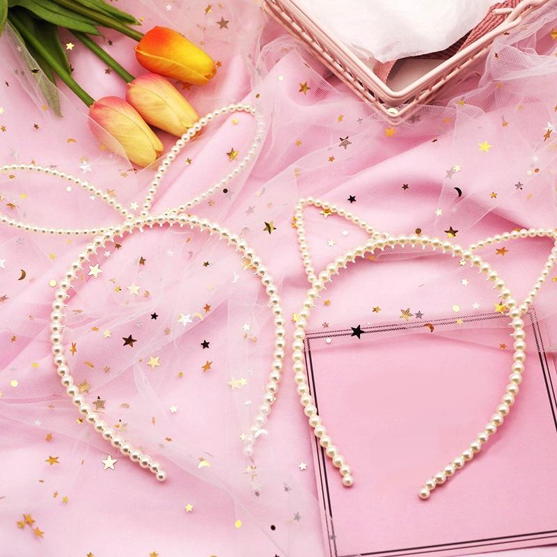 Korea Big Imitiation Pearls Elegant Headband Women Headwear Cute Cat Ear Hair Hoop Bezel For Girls Gift Hair Accessories Winter