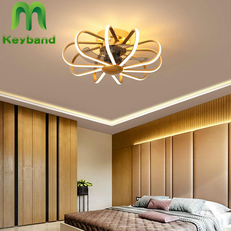 Nordic Mini Fan With Lamp And Remote Control 5 Abs Baldes Lighting Ceiling Chandelier Goldenn White Black Silent Copper Motor