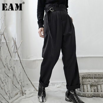 [EAM] High Waist Bandage Black Pleated Long Wide Leg Trousers New Loose Fit Pants Women Fashion Tide Spring Autumn 2020 1S236