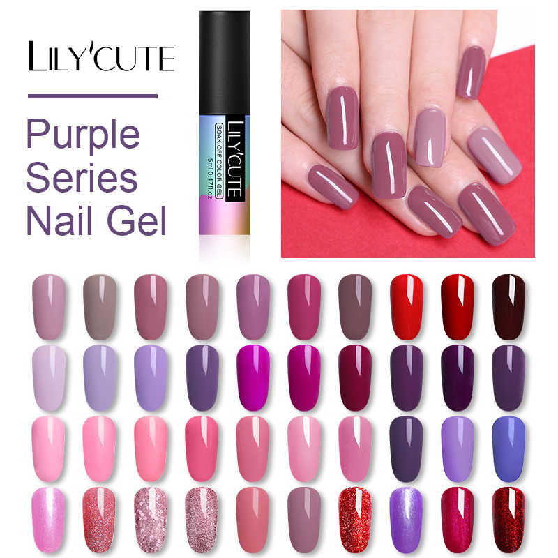 LILYCUTE 5ML Roze Soak Off UV Gel Polish Paars Zwart Wit Nail Gel Langdurige Pure Nail Kleur Gel nagellak Manicure