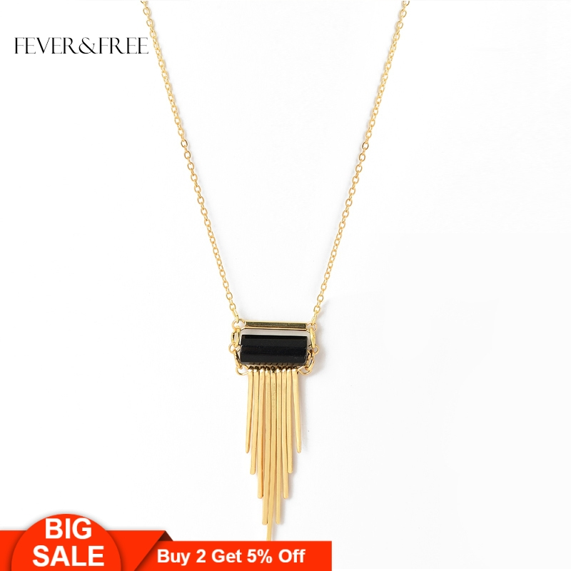 Fever&Free Bohemian Style Tassel Necklace Simulated Black Natural Stone Pendant Necklaces Collar Vintage Gold Jewelry