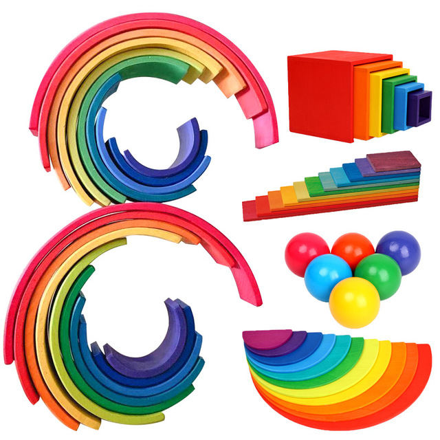 DIY Children s wooden toys creative rainbow building blocks baby toys large size Montessori interest education