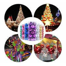 24PCS Plastic Christmas Tree Xmas Balls Decorations Baubles Party Wedding Ornament Candy Color Ball Ornaments