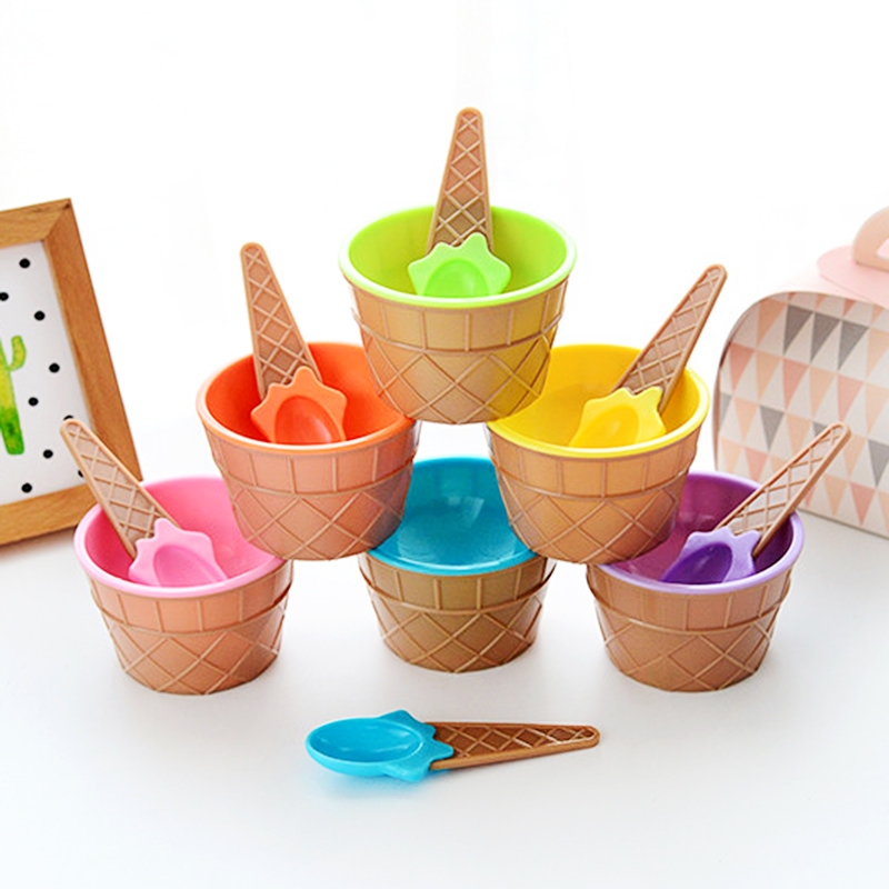 Ice Cream Bowl Spoon Glue For Slime Supplies Accessories Crystal Mud Clay DIY Lizun Stirring Cup Tool Clear Slime Bowl Toys Kids
