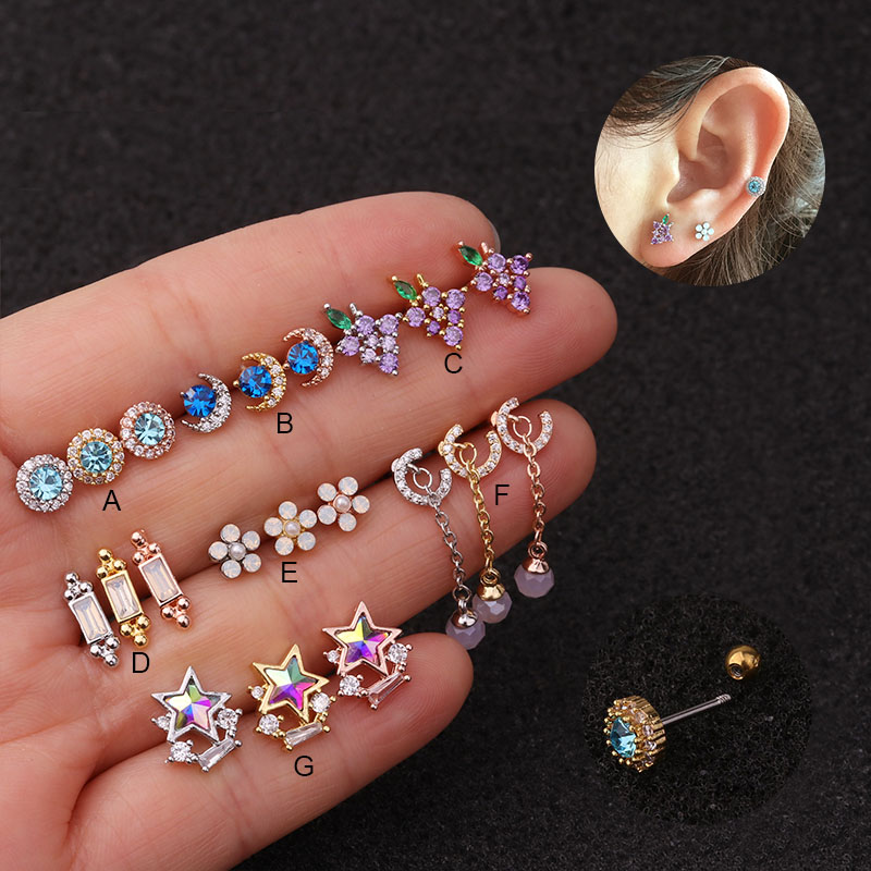 Imixlot New 20G Stainless Steel Barbell Multicolor Cz Star Moon Tragus Cartilage Helix Rook Conch Lobe Piercing Earring Stud