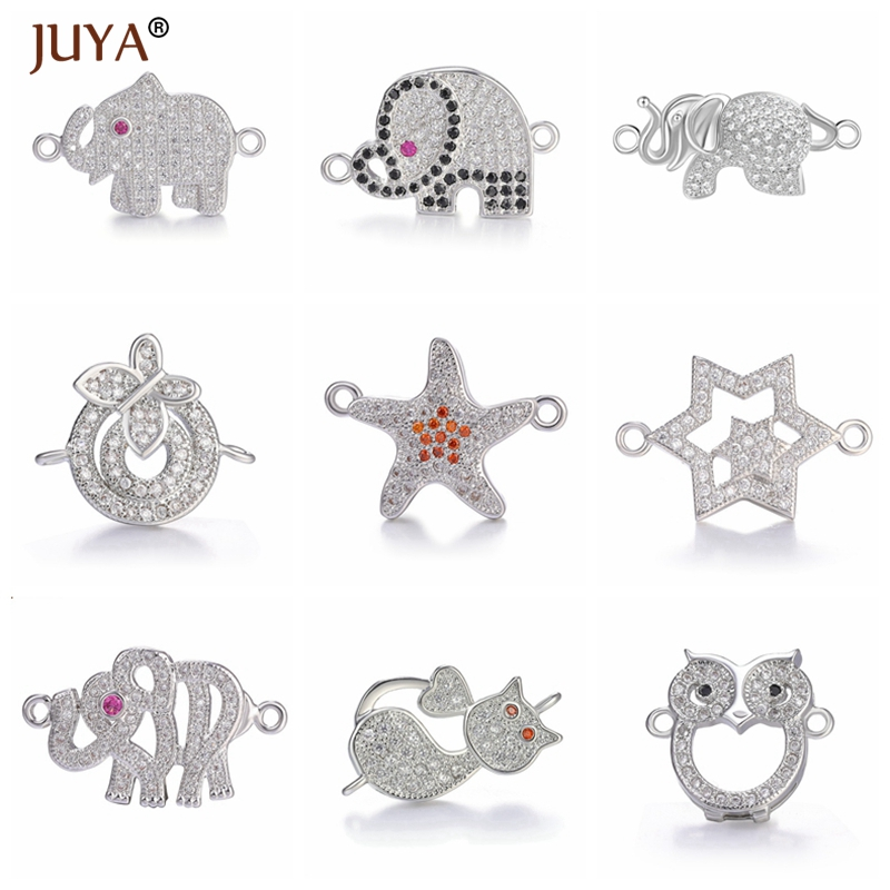Accessories For Jewelry Copper Zircon Owl Elephant Cat Starfish Star Charms Connectors Making Bracelets Trendy Jewelry Findings