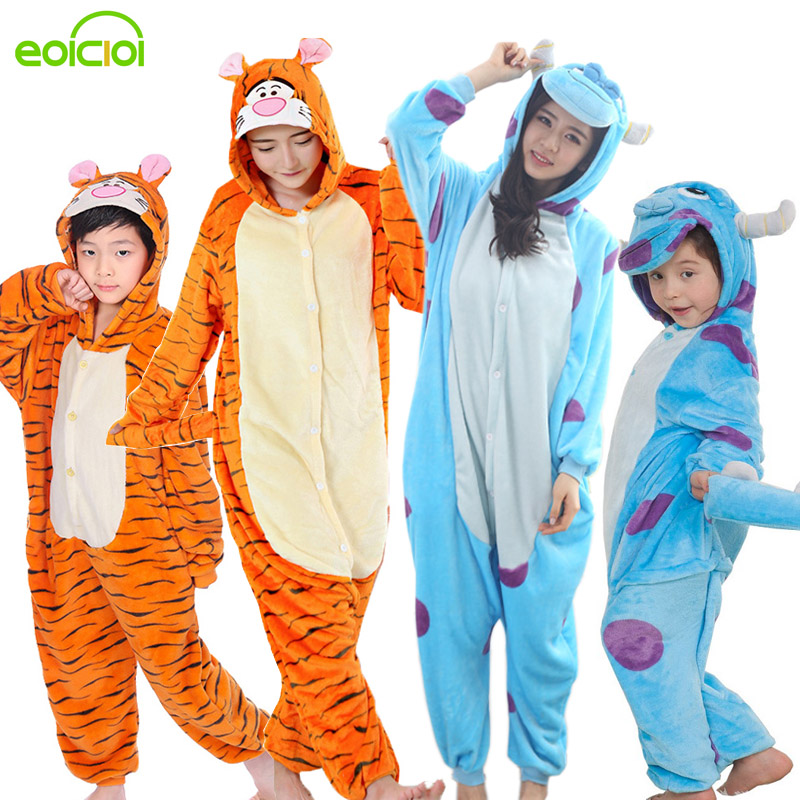 EOICIOI Flannel Hooded Animal Pikachu Family Christmas Pajamas Winter Cartoon Sleepwear Matching Outfits Mother Daughter Cosplay