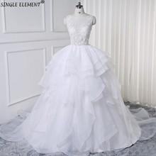 Real Photo Illusion Wedding Bridal Gowns Dresses Court Train White Ivory Vestido De Noiva
