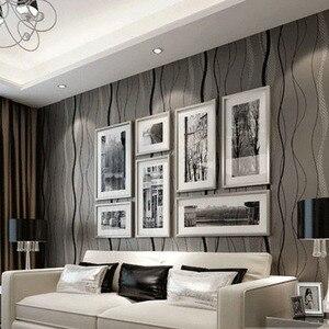 Image 4 - 3D שאינו ארוג פס עקום טפט רול בית תפאורה סלון חדר שינה קיר כיסויי כסף פרחוני יוקרה קיר נייר