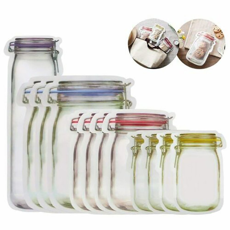Reusable Mason Jar Bottles Bags Nuts Candy Cookies Bag Self-sealing Kitchen Storage Bag Snacks Zipper Food Fresh-keeping Bag