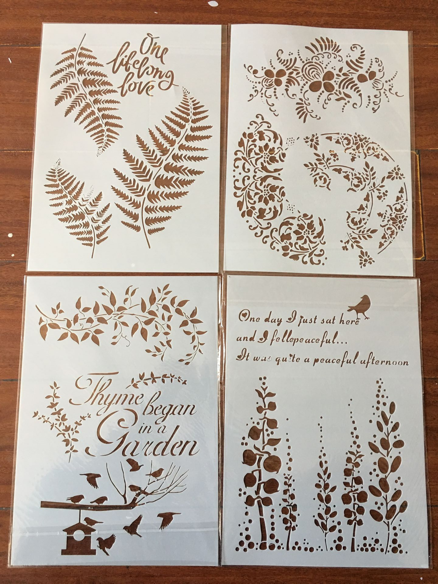 4pcs / Set A4 Plant Leaf Flower Stencils Painting Coloring Embossing Scrapbook Album Decorative Template