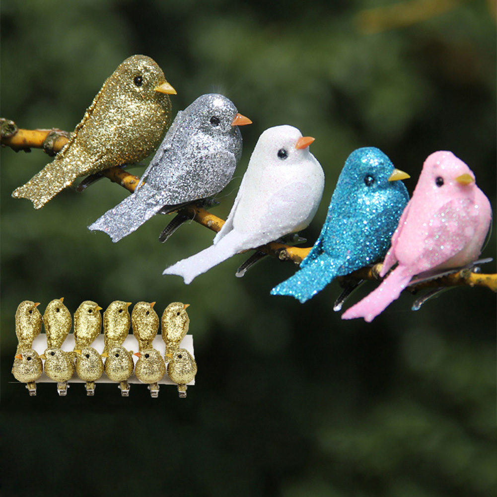 12 Pcs Artificial Simulation Foam Bird Set Mini Cute Birds Ornaments Glitter Diy Craft For Home Garden Christmas Tree Decoration Pendant Drop Ornaments Aliexpress