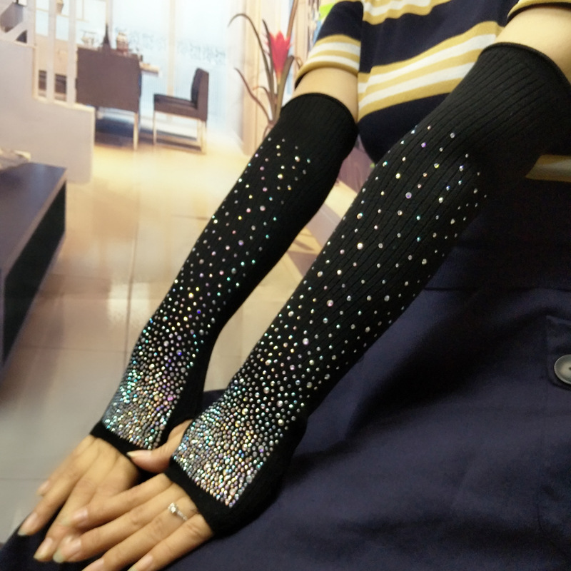 Color Rhinestones Arm Covers New Female Autumn Winter Warm Korean Style Shiny Soft Comfortable High Quality Knitted Arm Covers