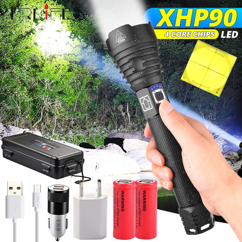 160000LM XHP90 Most Powerful LED Flashlight XLamp XHP70.2 USB Rechargeable Tactical Light 18650 26650 Zoom Torch Camping Lamp