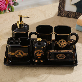 Bathroom Accessories Set Ceramic Wash Suit Soap Dispenser Toothbrush Holder Gargle Cups Soap Dish With Tray Wedding Gifts