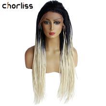 Омбре серый плетеный ящик косички парики для женщин длинный синтетический парик на кружеве два тона серый цвет жаростойкий парик на шнурке Chorliss