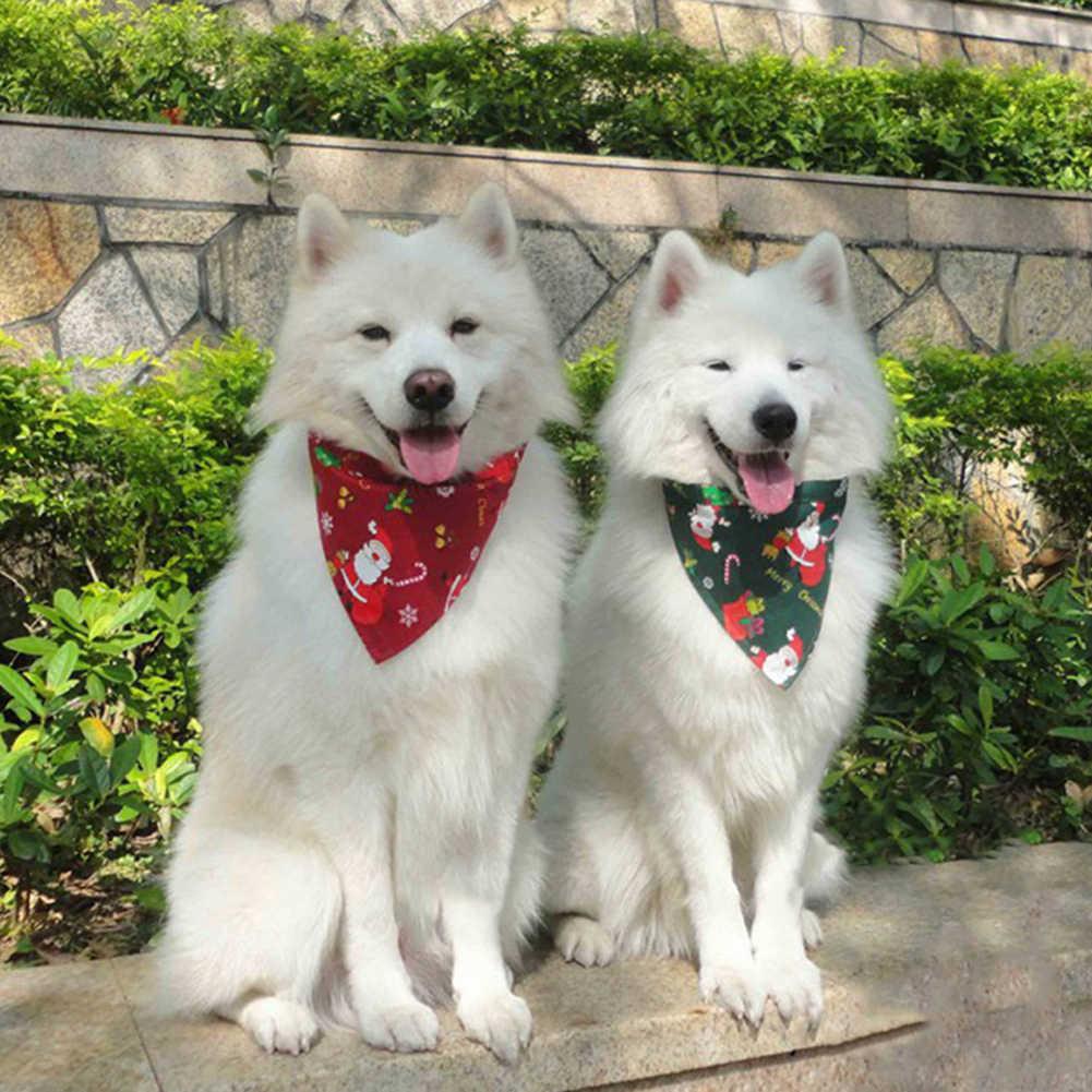 Natal Hewan Peliharaan Anjing Anak Anjing Santa Elk Kepingan Salju Bandana Oto Handuk Syal Selendang Syal Anjing Produk Aksesoris Liburan Perlengkapan