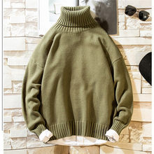 2019 Baru Musim Gugur Hip Hop Sweater Pria Kasual Warna Solid Pria Sweater Turtleneck Rajut Pullover Mantel M-3XL(China)