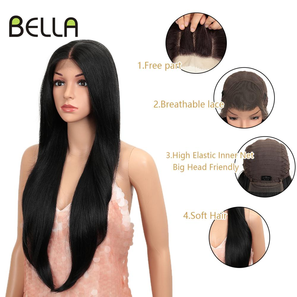 Bella Long Straight Synthetic Lace Front Wig 28 Inch Black Color Heat Resistant Free Part Long Wig 360Lace Frontal Wig For Women