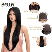Bella Long Straight Synthetic Lace Front Wig 28 Inch Black Color Heat Resistant Free Part Long Wig 360Lace Frontal Wig for Women ultra long center part straight synthetic wig