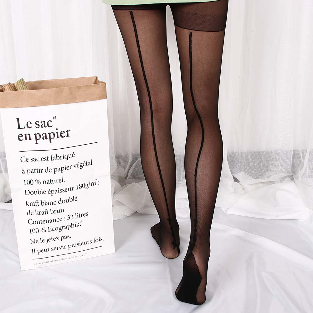 <font><b>1</b></font> pair Women <font><b>Lady</b></font> Tigh Stockings Pantyhose 2 Colors Stylish Retro <font><b>Sexy</b></font> Jacquard Backside Line English Love Letter Tattoo Tights image
