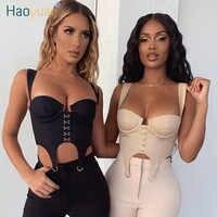 HAOYUAN, сексуальный укороченный Топ для женщин, лето 2020, модная облегающая одежда, Rave Festival Club, открытая спина, милые укороченные бюстье, топы на ...