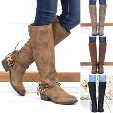 2019 New Leather Knee High Boots Women Long Tube Sexy Chunky Stretch Lace Up Side Zipper Casual