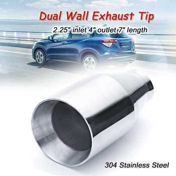 58mm ID Car Chrome Flat Exhaust Pipe Tip Muffler Stainless Steel Trim Tail Tube