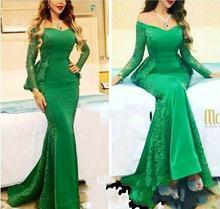 Зеленое кружевное атласное вечернее платье с длинным рукавом