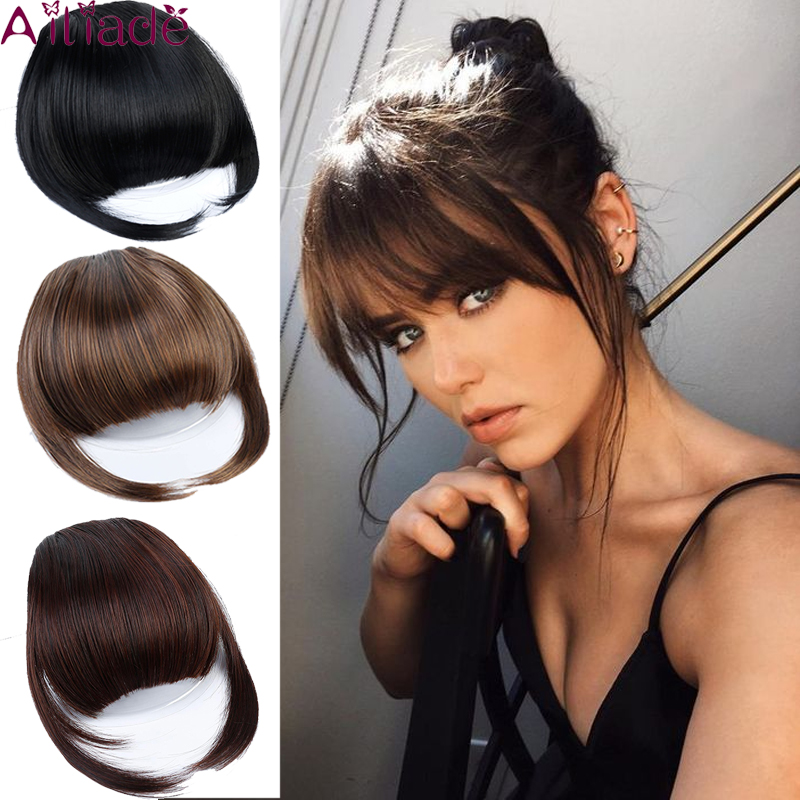AILIADE Multiple Colour Clip In Hair Orderliness Bangs Hairpiece Synthetic Fake Bangs Hair Piece Clip In Hair Extensions
