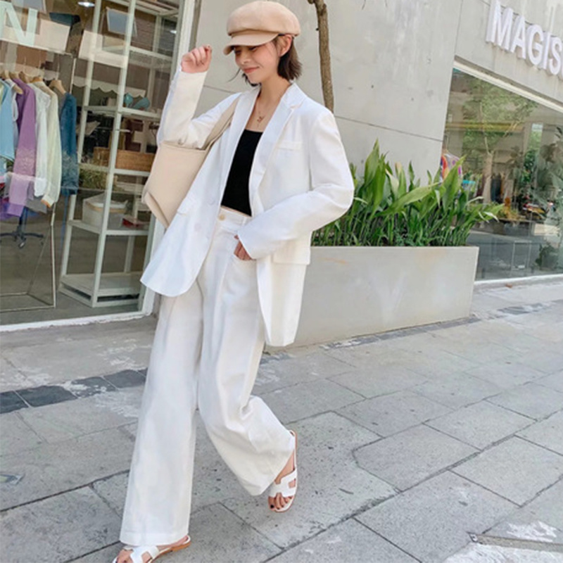 Fashion Women Blazers Casual Suit Female Suit + High Waist Wide Leg Pants Long Sleeve Women Clothes Costume Femme Terno Feminino