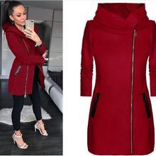 Women Winter Clothes Warm Jacket Side Zipper Hooded Coat Cas