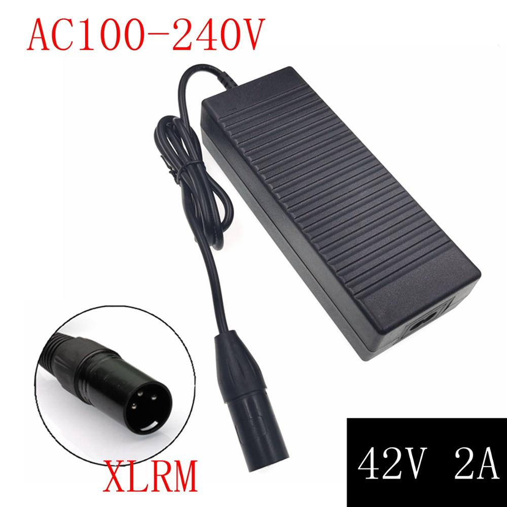 42V 2A E-bike Lithium Battery <font><b>Charger</b></font> for <font><b>36V</b></font> <font><b>10S</b></font> electric bike lithium battery XLR Plug Input 100-240V Free shipping image