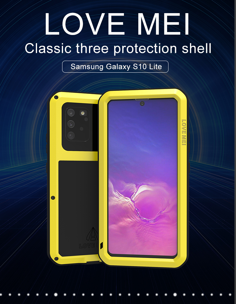 For Samsung Galaxy S10 Lite Case Love Mei Powerful Shock Dirt Proof Water Resistant Metal Armor Cover Phone Case For S10 Lite
