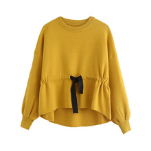 Autumn Pullover Women Basic Slim Lace up Fashion Solid Simple Bow Ladies Loose Tops