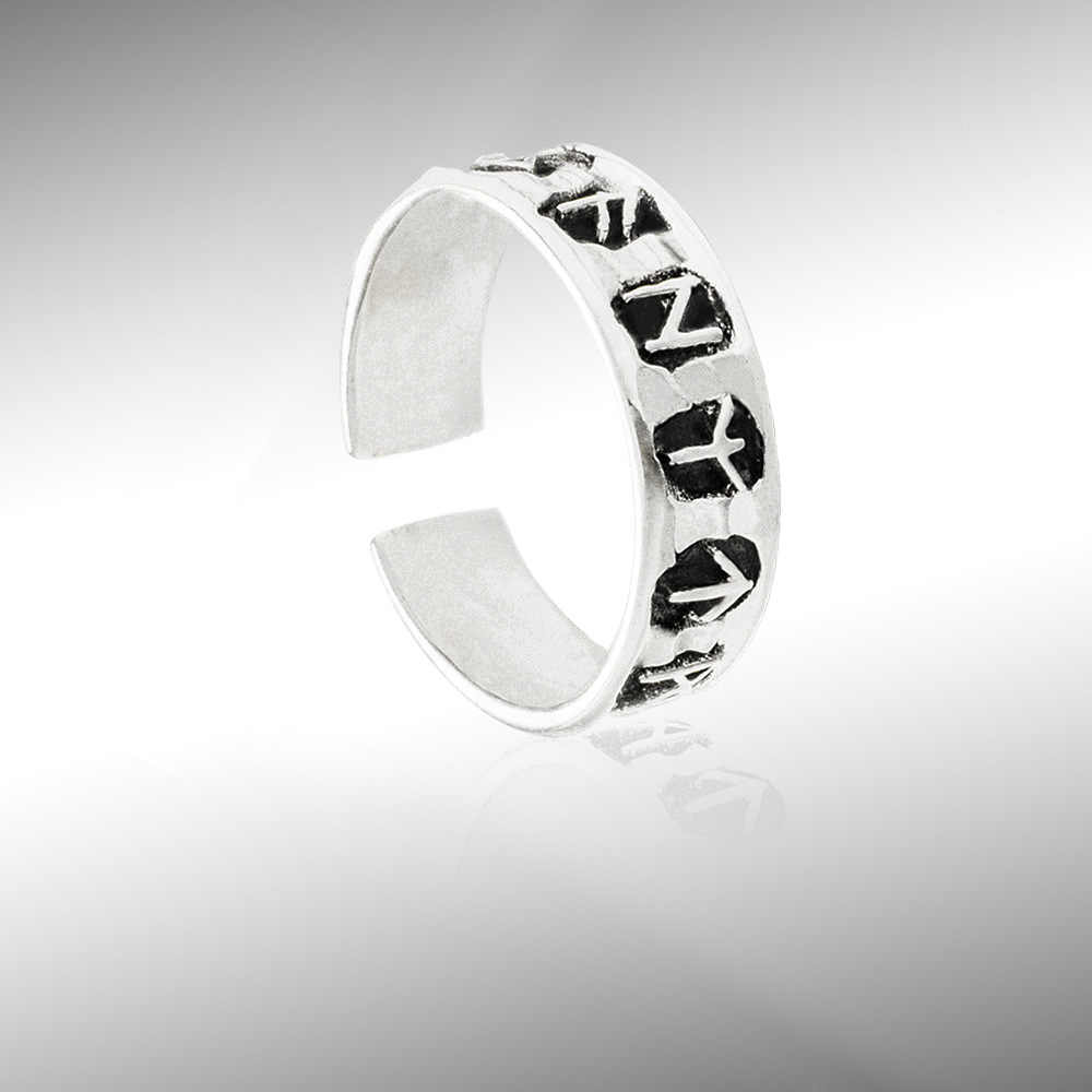 สร้างสรรค์แกะสลักเงินโลหะวงกลมเปิดนิ้วมือแหวนปรับ Lucky แฟชั่น Knuckle เครื่องประดับ Vintage ยุโรปสไตล์แหวน