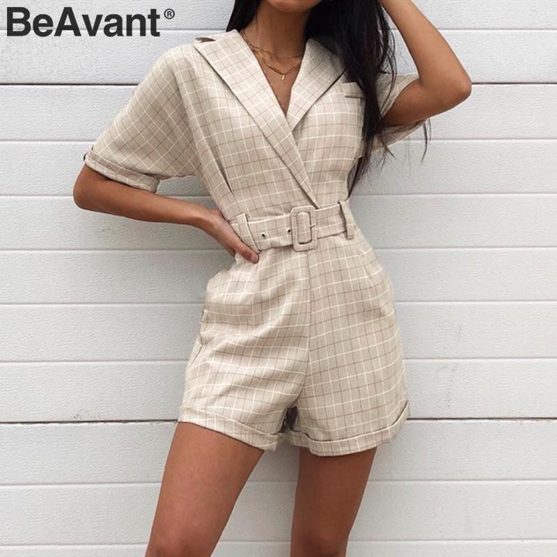 BeAvant Plaid Sash Belt Jumpsuit Romper Women Casual Streetwear V-neck Female Playsuit Office Ladies Short Jumpsuit Playsuit