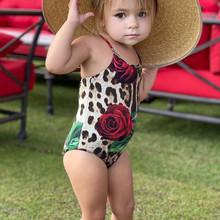 2-6 lat stroje kąpielowe dla dzieci niemowlę dzieci dziewczynek stroje kąpielowe Leopard z kwiatowym wzorem One Piece stroje kąpielowe dla dziewczynek chłopców #0508g30 tanie tanio Perimedes Pasuje prawda na wymiar weź swój normalny rozmiar Dziewczyny COTTON Floral New children s one-piece swimsuit