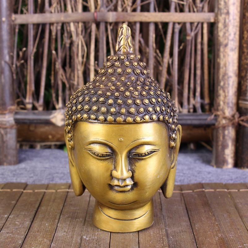 Collection Chinese Brass Carving Handmade Buddha Head Ornament Buddha Statue Home Decoration Gift