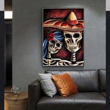 Абстрактное искусство Хэллоуин Череп диван Спальня украшение