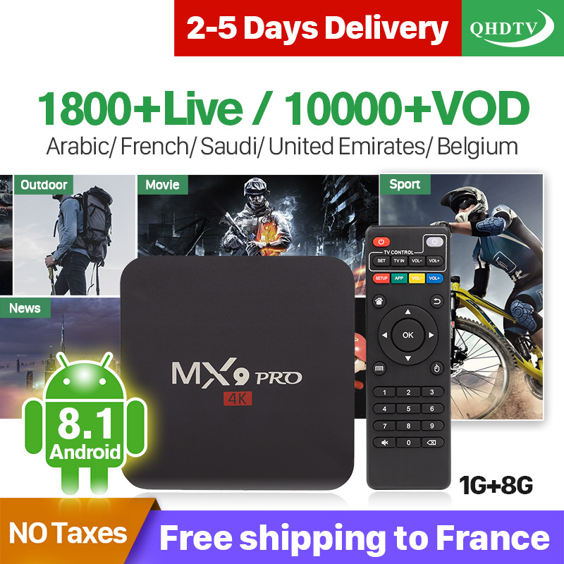 QHDTV France IPTV Arabic French IP TV MX9Pro Android 8.1 1G+8G 1 Year Belgium Box