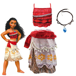 Moana Cosplay Costume Set for Children Vaiana Sling Dress Necklace Set for Halloween Costumes for Kids Moana Cosplay Clothing