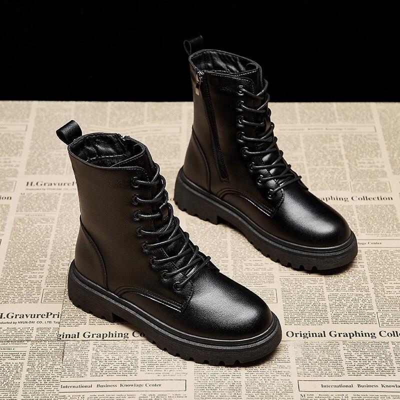 Женские ботильоны из искусственной кожи Rimocy, черные ботинки на шнуровке с круглым носком, модные мотоциклетные ботинки на платформе и молнии для осени и зимы|Сапоги до середины голени| | АлиЭкспресс