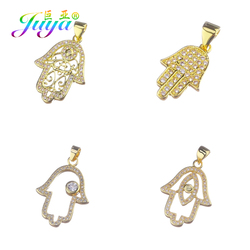 Juya DIY Jewelry Charms Accessories Supplies Silver Color Hamsa Hand Of Fatima Pendants For Fashion Bracelet Necklace Making
