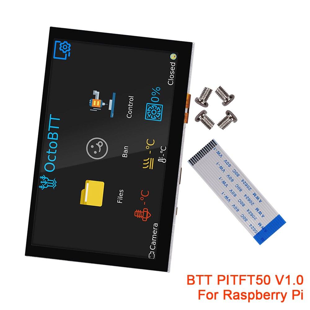 BIGTREETECH PITFT50 V1.0 3 3B Plus 4B 2B Tela Sensível Ao Toque Para Raspberry Pi Modelo B Peças de Impressora Octoprint 3D 5 polegada Display LCD DSI