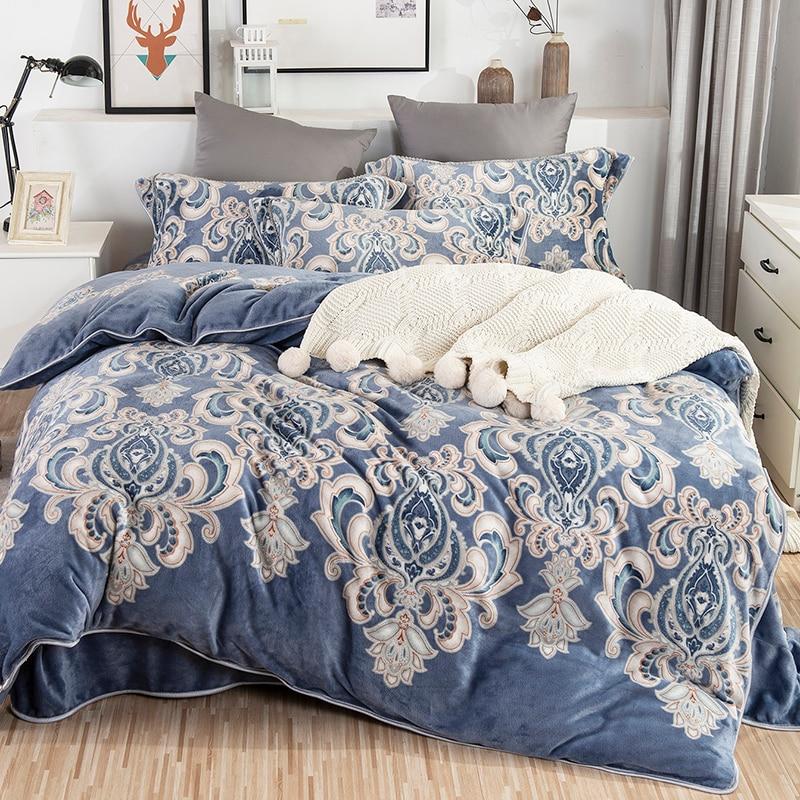 Luxury Bohemia Flowers Lattice Printing Winter Fleece Fabric Bedding Set Flannel Velvet Duvet Cover Bed Sheet/Linen Pillowcases